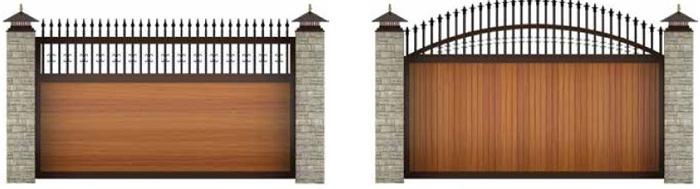 Откатные ворота из сэндвич-панелей с ковкой
